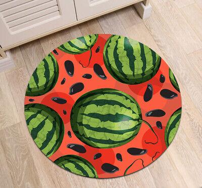 Summer Big Watermelon Round Floor Mat Area Rugs Home Room Non-Slip Decor Carpets