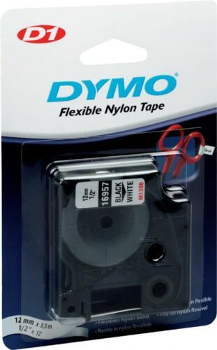 Schriftband schwarz auf weiß 19mm// 5,5m Dymo D1-Polyesterband permanent
