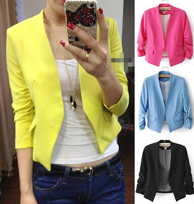 Fashion Candy Color Womens Solid Slim Casual Suit Blazer Coat Jacket S M L Tops