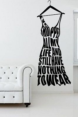 I've Shopped All My Life  Hanger Shaped Funny Wall Sticker 30cm x 75cm UK FAST