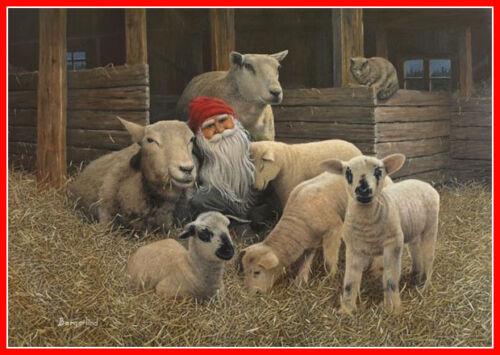 Scandinavian Swedish Christmas Poster Print Lamb Tomte Gnome J Bergerlind BO542