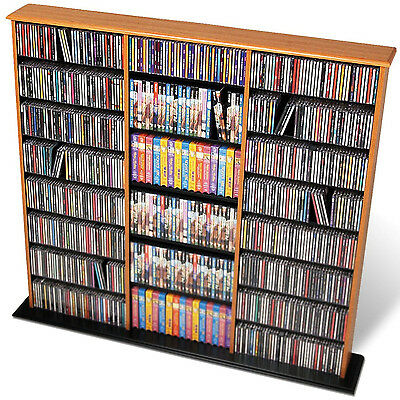 DVD CD Media Wall Storage Rack Blu Ray Multimedia Cabinet Shelves Room Organizer