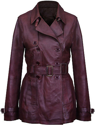 Ladies Womens Girls Genuine Real Sheep NAPPA Leather Vintage Blazer Jacket Coat