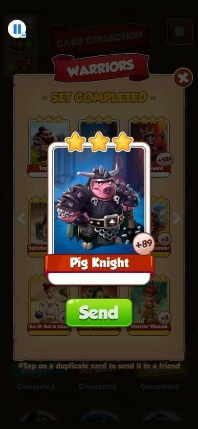 Coin Master Cards Pig Knight 5X