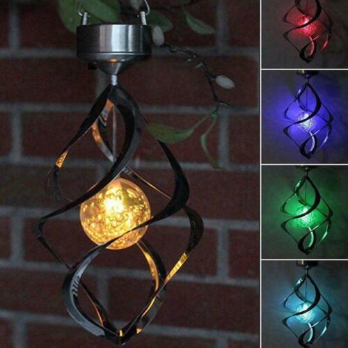 Solar Power LED Light Wind Spinner Chimes Spiral Garden Courtyard  Hanging  G0C1