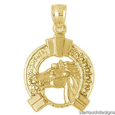 New 14k Yellow Gold Horse Pendant
