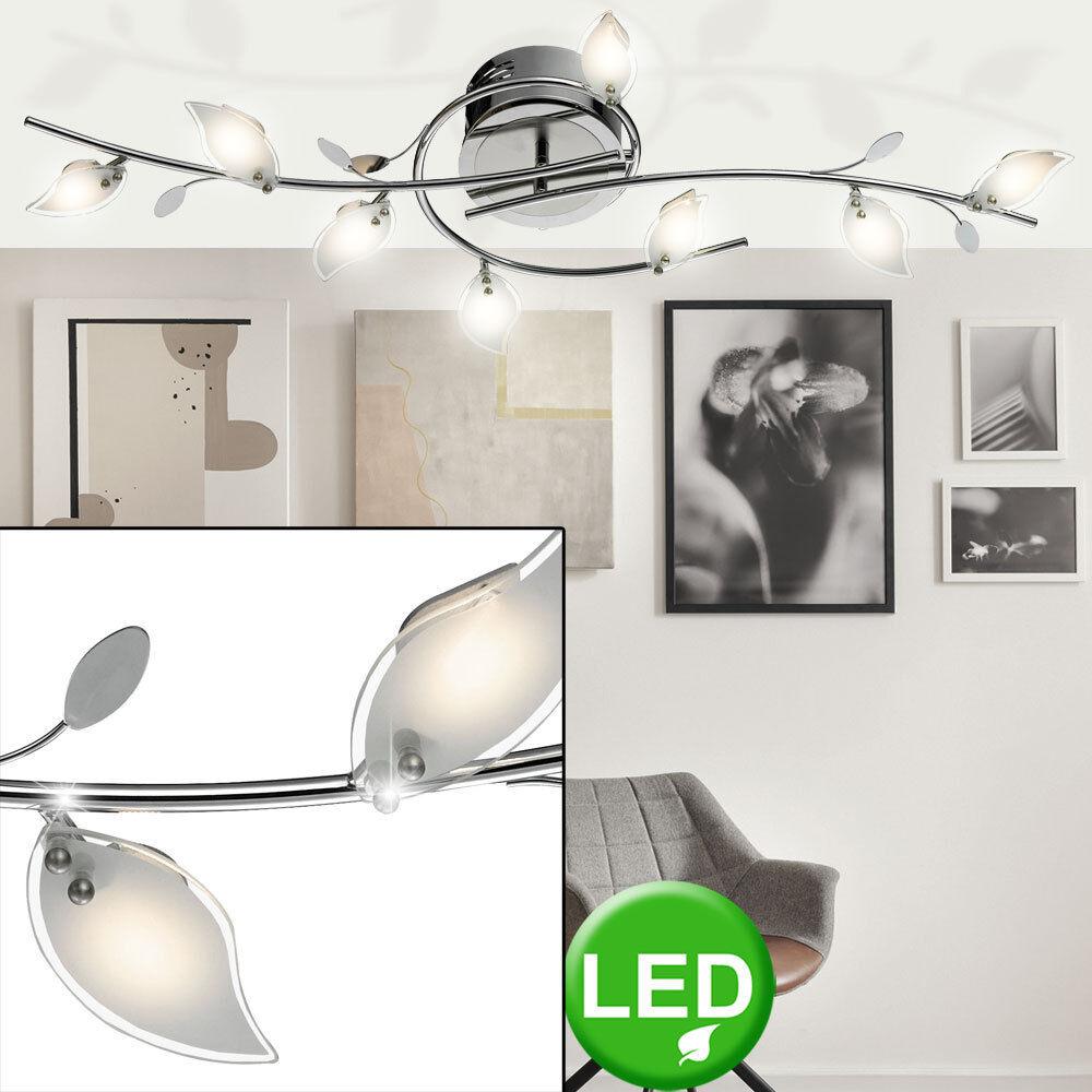 LED Decken Lampe Blätter Design Chrom Wohn Ess Zimmer Beleuchtung Glas Leuchte