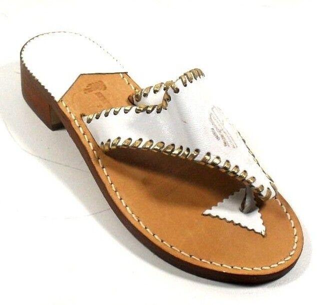 Stephen Bonanno Palm Beach White Thong Leather Women's Low Heel Thong White Sandals 6M e1e17f