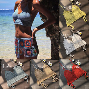 9fa941c6ae Image is loading Women-Hollowed-Boho-Beach-Bikini-Crochet-Lace-Bralette-