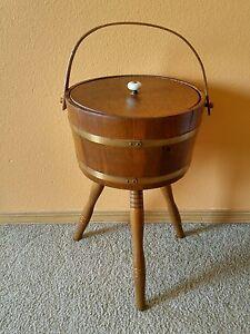 Vintage Wood Whisky Barrel Sewing Thread Yarn Box Holder