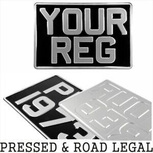 1x-SQUARE-Black-Silver-Pressed-Number-Plate-Car-Metal-Classic-Aluminium-300x200
