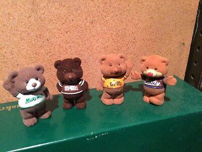 M/&M SET snickers milky way peanut chocolate teddy bear figure flocked pvc chum