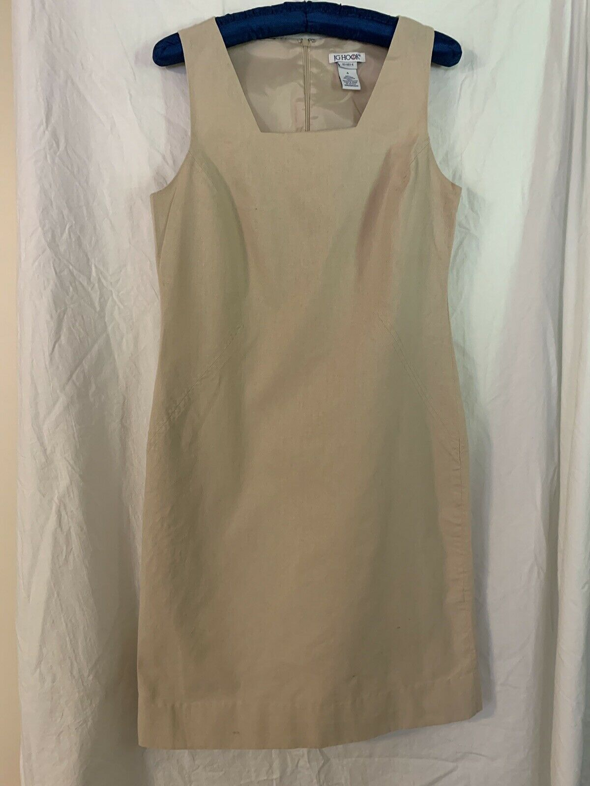 JG HOOK Womans Beige Linen Square Neck Sleeveless Knee Length Sheath Dress Sz 4