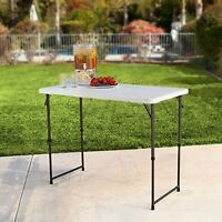 Folding Table Height Adjustable Utility Table 48 X 24 Indoor Outdoor Party Camp