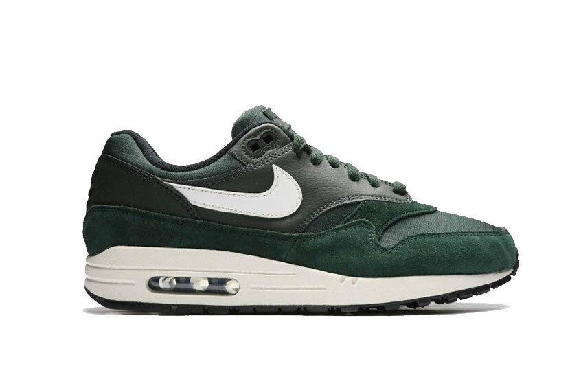 New Nike Men's Air Max 1 shoes (AH8145-303)  Outdoor Green   White-Sail-Black