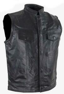 Kids Motorcycle Club Vest Top Grade Soft Black Leather Lined Snaps Pockets NEW
