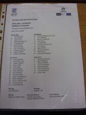 19/11/2013 COLORI teamsheet: Inghilterra V [Germania a Wembley] (lievi pieghevole/CREAS