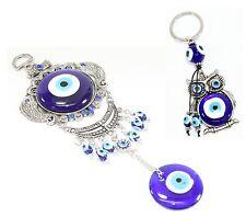 Set of 2~Turkish Blue Evil Eye Carps Amulet Wall Hanging + Owl Key Ring Chain
