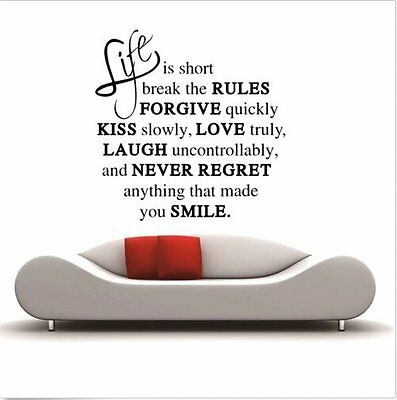 LIFE IS SHORT LOVE QUOTE wall art vinyl decal home room decor Remonable sticker