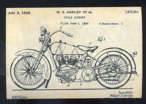1925 HARLEY DAVIDSON MOTORCYCLE PATENT DRAWING DIAGRAM POSTCARD COPY | eBayeBay
