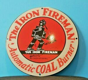 VINTAGE-IRON-FIREMAN-GAS-OIL-COAL-BURNER-PORCELAIN-SERVICE-STATION-SIGN