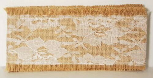 """Burlap Ribbon 4/"""" with Lace Total 10 Yards 5 Packs of 72/"""" Primitive 360/"""""""