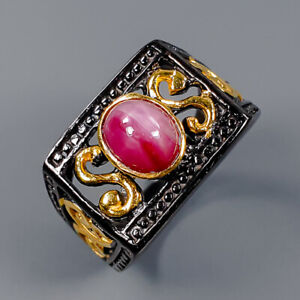 Star Ruby Ring Silver 925 Sterling Handmade jewelry Size 7.5 /R145121