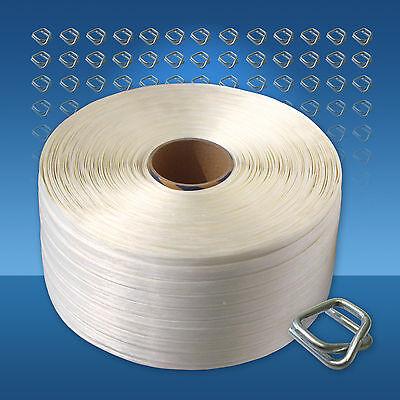 Textilband Umreifungsset 16 mm 200 Verschlussklemmen 450 m Umreifungsband Spannger/ät