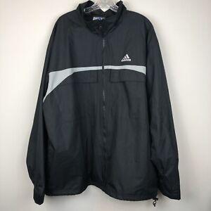 28e0c59f4564 Men s Black Adidas Windbreaker Jacket Athletic Soccer Loose Size XL ...