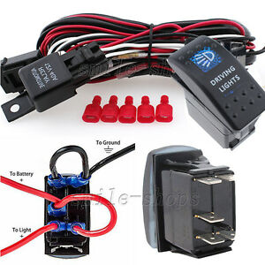 12V On/Off 5 pins Blue Driving Light Rocker Switch + Wiring Harness ...