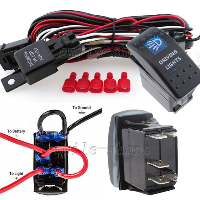 12V On/Off 5 pins Blue Driving Light Rocker Switch ...