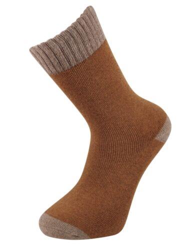 Women/'s 2 Tone Ladies Merino Lambs Wool Blend Comfort Warm 2.4 Tog Socks UK 4-8