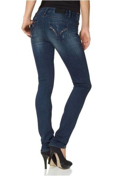 Arizona Tubo Jeans Nuovo Scuro Blu Usato Pantaloni Donna