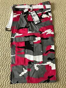0f9c9e517a NWT Men's Regal Wear Pink Gray Camouflage Camo Belted Cargo Shorts ...