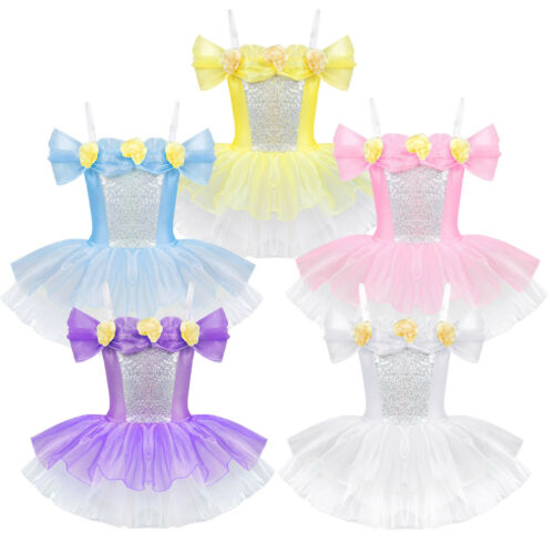 Girls Off Shoulder Flower Ballet Tutu Dress Gymnastics Ballerina Dance Costumes