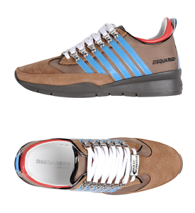 Dsquared2 brown leather sneakers with stripes size US10 made in Italy 690