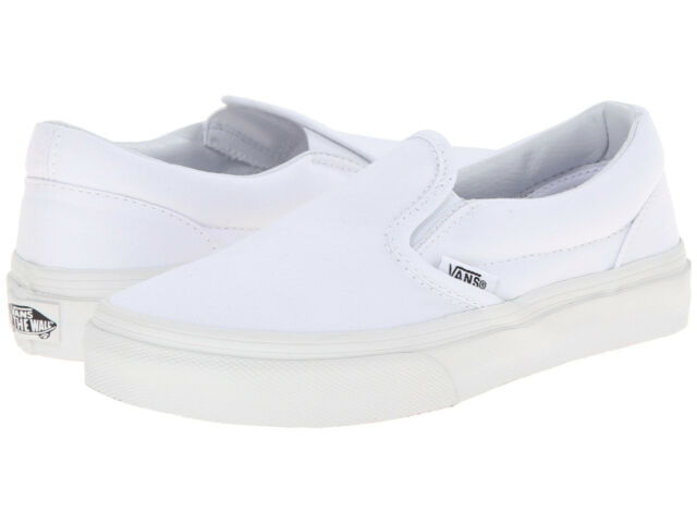 9d1acb29e5a138 Kids Vans Classic Slip On Canvas VN-0EYBW00 True White 100% Authentic Brand  New