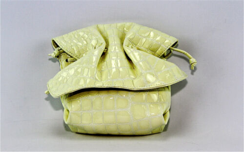 CARLOS FALCHI CROCO WHITE 100/% LEATHER BOW SHOULDER BAG SIDE POUCH NEW $325.00
