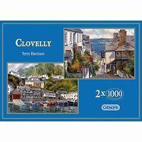 GIBSONS CLOVELLY 2 x 1000 PIECE DEVON VILLAGE TERRY HARRISON JIGSAW PUZZLE