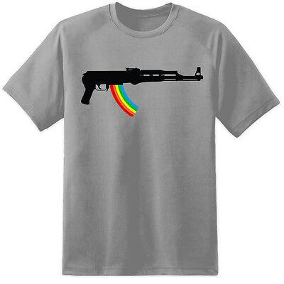 Aggressiv Mens Ak47 Rainbow Rifle T Shirt Prodigy Festival Gig Tickets Funny Stag Top Gun GroßE Vielfalt