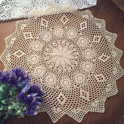Vintage Handmade Crochet Tablecloth Cover Round Lace Cotton Table Cloth Topper EBay
