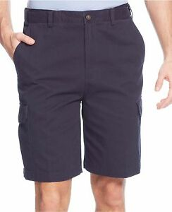 Geoffrey-Beene-Extender-Washed-Twill-Cargo-Shorts-Navy-Mens-Size-32-New