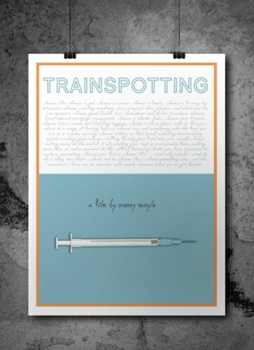 Film Poster Trainspotting Inspired Retro Movie Print// Poster A3 Digital Art