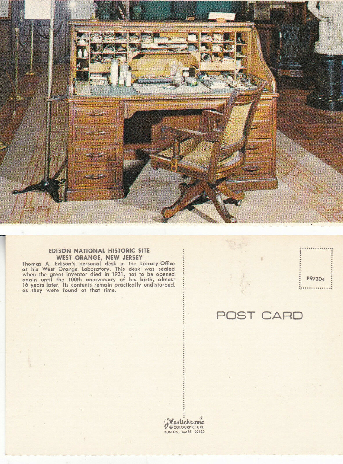 Desk Edison National Historic Site New Jersey Unused Colour Postcard A