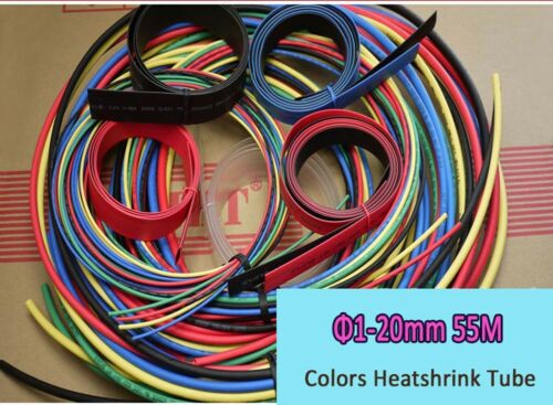 Φ1mm-20mm Colored Heatshrink Tube Heat Shrink Wire Sleeve Assortment Kit 55M 2:1