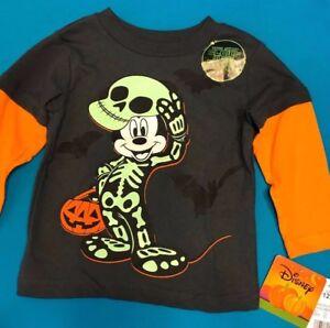 0863deca374 Mickey Mouse Disney Halloween T-Shirt Glow in The Dark Boys New ...