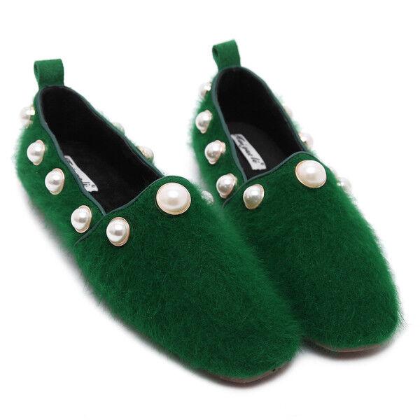Ballerines mocassins élégant vert doux fourrure comme cuir confortable 1704