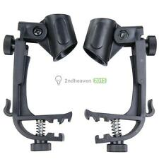 1 Pair Adjustable Drum Clips Microphone Rim Mount Clamp Stand Holder Black BEST