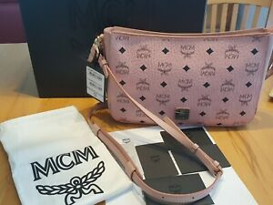 Details zu 100% Original MCM Essential Shoulder Bag Visetos Medium Rosa Rose NEU!TOP!