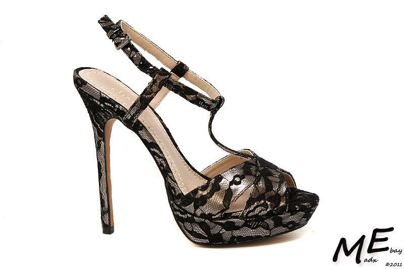 New Charles by Charles Charles Charles David Tangy Pump Women BlackLace Sandals Sz7 (MSRP  130) 0b4d05